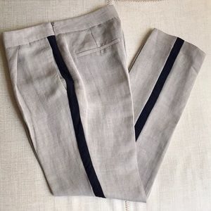 ZARA LINEN TROUSERS WITH CONTRASTING TRIMS